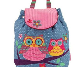 Personalized Stephen Joseph Toddler Owl Signature Backpack, Monogrammed Children's Backpack, Kids Backpack, FREE PERSONALIZATION