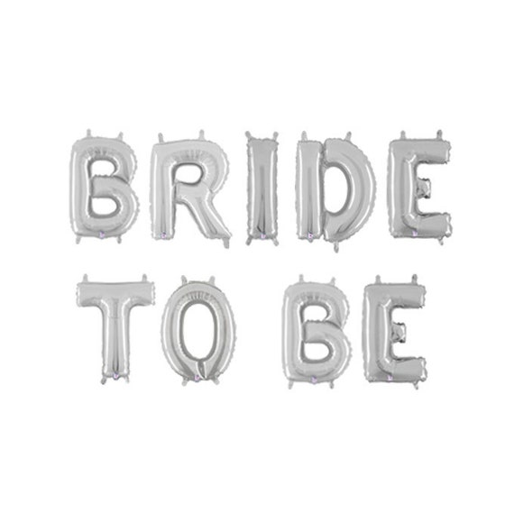 Silver Bride To Be Balloons, Bride To Be Letter Balloons