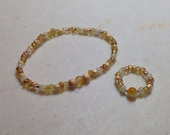 Seed bead bracelet and ring set
