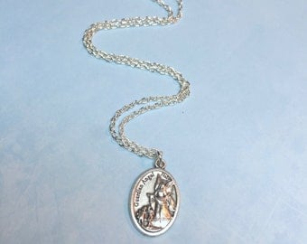 GUARDIAN ANGEL Necklace-Religious Medal-Thick or thin chain-Children's religious necklace-Guardian Angel and 2 children-Catholic gift
