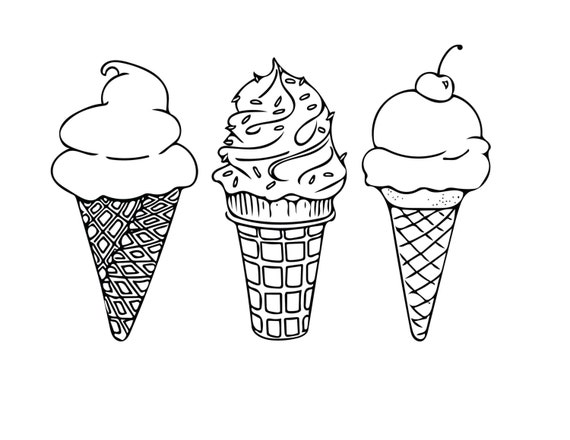 PRINTABLE COLORING SHEET Instant Download Ice Cream Cones Coloring Sheet Kids Activities Adult Page 85x11