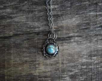 Turquoise Flower Necklace Small Turquoise Pendant Silver Turquoise Flower Pendant