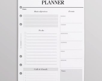 PRINTED A5 Weekly Planner Inserts | Weekly To Do List | Week On One Page | Filofax Planner Pages, Kikki K Planner Pages, Work Planner