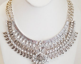 Silver Tribal Style Necklace / Crystal Clear Rhinestones Statement Necklace / Gift for Her / Party Necklace /