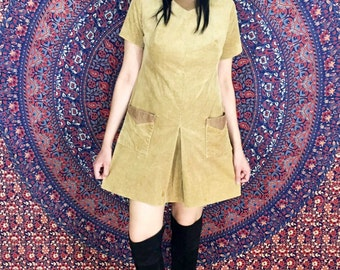 Vintage 60s John Romain Tan Mod Scooter Corduroy Mini Dress with Pleated Skirt and Leather Collar M