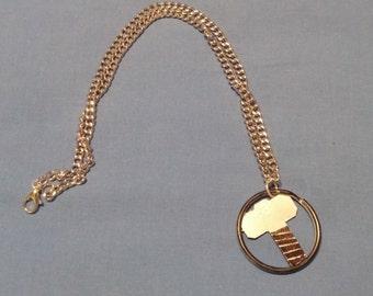 Thor Logo Necklace Upcycled Handpainted
