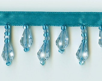 50% Off!  Turquoise Spa Beaded Fringe Trim.   Now Only 3.35 a Yard.  Over 50 colors available.