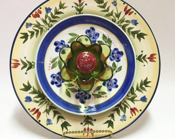 Glass Flower - Garden Art - Plate Flowers - Art Flowers - Glass Flowers - Dish Flowers - Outdoor Decor - Garden Decor - Home Decor
