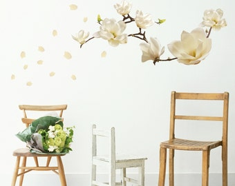 Wall sticker magnolia flowers white