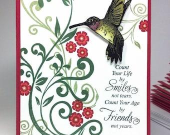 Handmade Hummingbird Friendship Card
