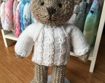 Hand Knitted Bear with Cable Jumper