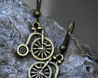 Steampunk Antique Bronze Victorian Penny Farthing Earrings