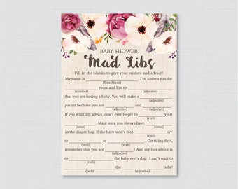 Boho Baby Shower Mad Libs Printable - Baby Shower Advice Cards Mad Libs Game - Instant Download - Bohemian Baby Shower Mad Lib Game - 0043
