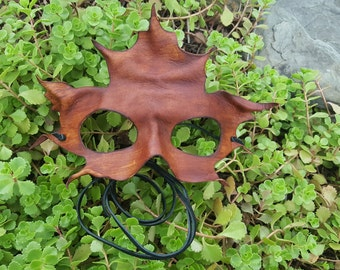 Handmade Brown Leather Maple Leaf Mask -- Ready to go