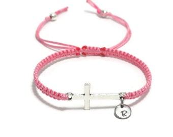 Personalized Cross bracelet, Sideways Cross Bracelet, Christian Jewelry Gift, Catholic Jewelry Gift, Religious Jewelry, Initial Bracelet