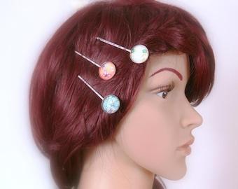 Hair clips set of 3, Bobby pin, hair clip, hair pin flower, silver hair clip, hair pin, hair jewelry pastel, Rockabilly