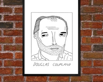 Badly Drawn Douglas Coupland - Literary Poster - *** BUY 4, GET A 5th FREE***