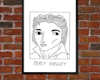 Badly Drawn Percy Shelley - Literary Poster - *** BUY 4, GET A 5th FREE***