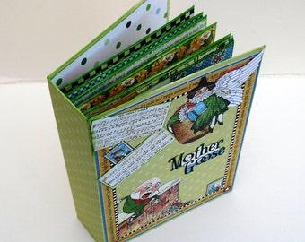 Handmade Memory Album. Scrapbook Album. Photo Book. Kids Photo Journal. Mother Goose Book. Graphic45 paper. Smashbook or Journal. Children