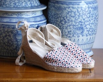 Wedge espadrilles with ribbons - GEOMETRIC COLLECTION - mumishoes - made in spain
