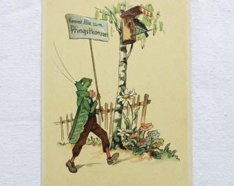 Vintage German postcard - Grasshopper - Nr. 2313 - 1960s