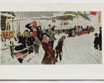 "Artist Mazitov. Vintage Soviet Postcard ""At the finish"" - 1958. Sovetskiy hudozhnik. Children, Winter, Skiing, Skis, People, Competition"