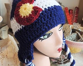 Crochet Colorado Flag hat, Luv Beanies, Colorado Flag hat, Girl Colorado Hats, Colorado Hats, Ski hats, Girl hats, Colorado beanies