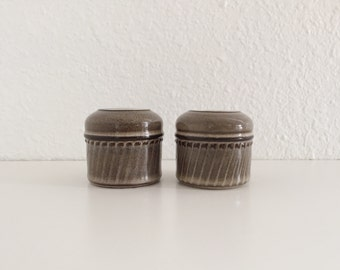 Vintage Denby Langley Stoneware Salt and Pepper Shakers / Rondo / Made in England