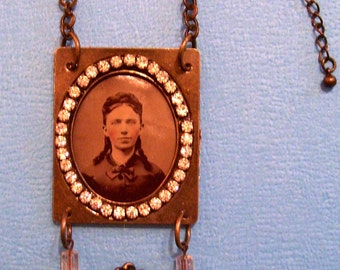 "Antique Tintype Photo Necklace Vintage  Key ""Unlock Her Secret"" OOAK"