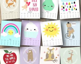 40% OFF Printable Calendar - Nursery Wall Art - Kids Room Decor - 2016 Printable Kids Calendar - Monthly Calendar - Kids Wall Calendar 2016