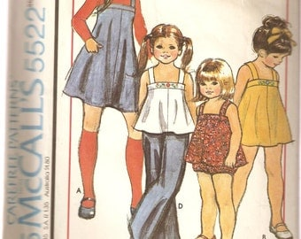 VINTAGE McCall's Sewing Pattern 5522 - Children's Clothes - Dress, Jumper, Top & Panties, Size 8