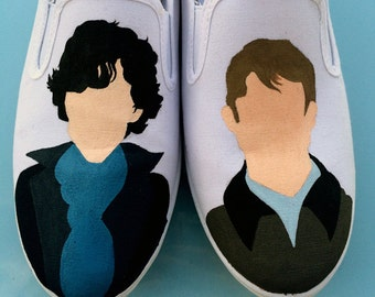 Made to order custom-painted Sherlock shoes