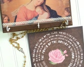 """Madonna & Child Handlettered Catholic Wood Rosary Hanger with Customizable Hooks + Optional 8x8"""" Fulton Sheen Rosary Quote Print"""