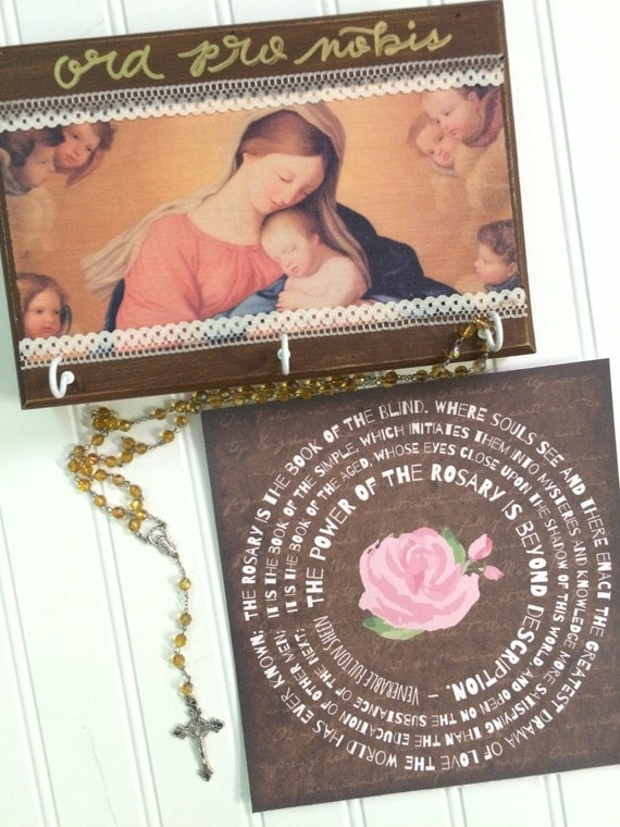 "Madonna & Child Handlettered Catholic Wood Rosary Hanger with Customizable Hooks + Optional 8x8"" Fulton Sheen Rosary Quote Print"
