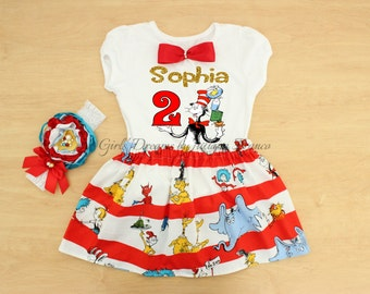 Dr Seuss Birthday Outfit, Dr Seuss Tutu, Personalized Dr Seuss Outfit, Cat in the Hat Dress, Dr Seuss Shirt, Cat in the Hat Shirt, Tutu