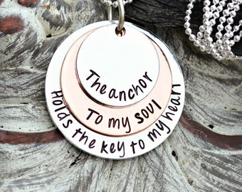 We Have This Hope As An Anchor To The Soul Firm Secure Hebrews 6:19 Bible Verse Necklace Hand Stamped by Heel Lilies - Scripture Jewelry