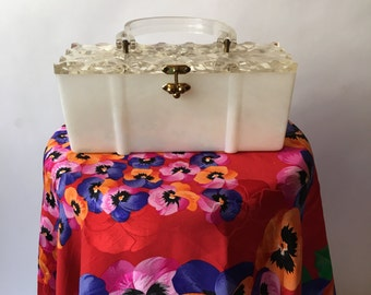 Pearl Tone Lucite Purse with Carved Top