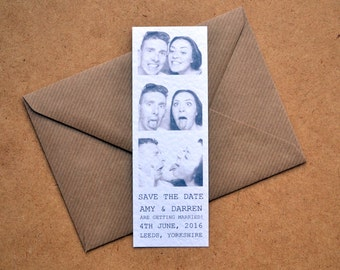 Save the Date - Photo Booth Style Black & White Funny Cute Hammer White Personalised Typography Wedding including C6 Kraft Envelope - Small