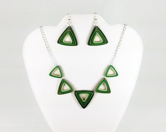 Green Ombre Necklace and Earring Jewelry Set - green triangle necklace, triangle earrings, green statement necklace, paper quilling jewelry