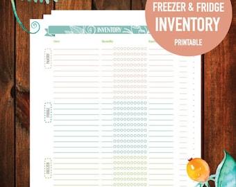 Printable Pantry Inventory List, Fridge Inventory, Freezer Inventory, Digital Download, 8.5x11 (FLORAL BANNER)