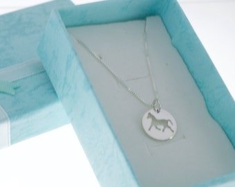 Horse necklace in sterling silver.  Equine jewelry.  Horse necklace.  Horse jewelry.  Horse charm.