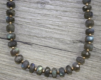 Labradorite Rondelle Necklace With Gold Filled Accent Beads / AAA Quality Gemstones