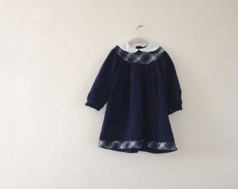 Vintage Wool Long Sleeve Dress - Girls 3T (98, 3 ans)