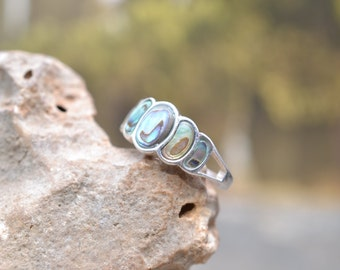 Sterling Silver and Abalone Graduated Inlay Ring
