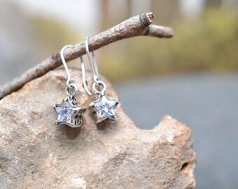 Sterling Silver CZ Star Dangle Earrings