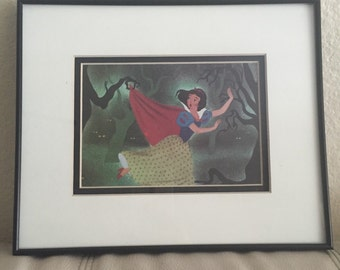 Snow White in the scary forest 8x10 franed childrens book page vintage