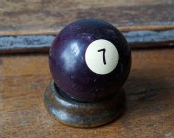 "2.25"" Old Pool Ball 7 Seven VII Brown Burgundy Number Plastic Billiard Ball Standard Size Color Solid Solids Retro Paperweight Man Cave"