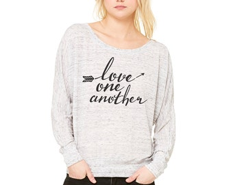 Love One Another Christian Bella Canvas Flowy Long Sleeve T- Shirt