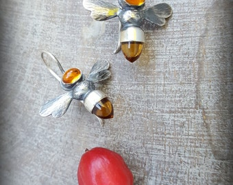 Citrine Bee Earrings, Honeybee Earrings, Citrine Bees,November Birthstone, Apis mellifera, Sterling Honeybee Earring, Silver Bees andCitrine