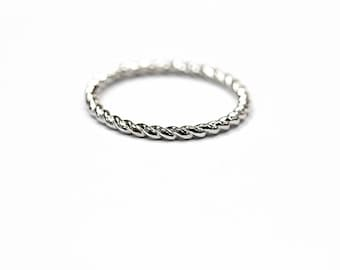 14k Twist Band Ring 1.50 mm Stacker, Thin Ring, Twisted Band, Midi Ring, Knuckle Ring in SOLID WHITE GOLD